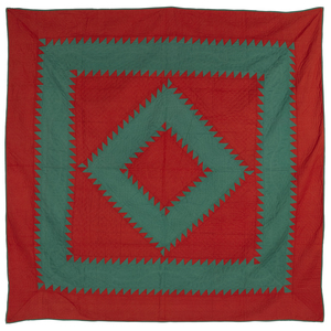 Pieced sawtooth diamond in square quilt, ca. 1930,