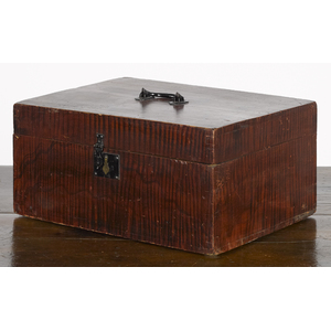 Fayetteville, Vermont painted basswood lock box, 1