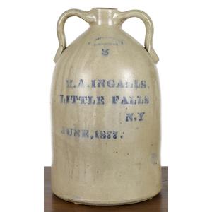 New York five-gallon stoneware advertising jug, 19