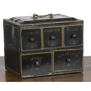 Painted tin spice box, pat. 1867, with double-side