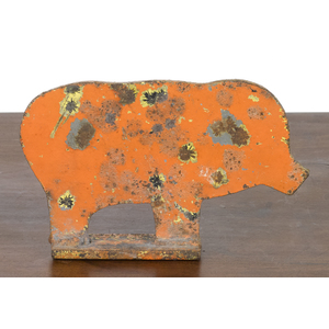 Sheet iron carnival pig target, early 20th c., ret