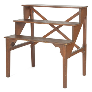 Stained pine three-tier stand, mid 19th c., probab