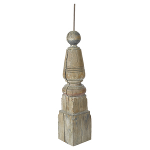 Turned and painted pine weathervane plinth, 19th c