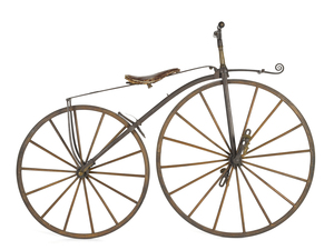 Rare American bone shaker bicycle, ca. 1870, label