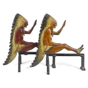 Pair of painted cast iron Indian Chief andirons, l
