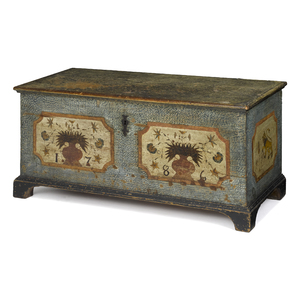 Pennsylvania German painted pine dower chest, date