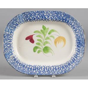 Blue sponge spatter platter with floral decoration