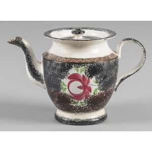 Black and brown rainbow spatter teapot with Adamso