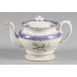 Purple spatter teapot with dove decoration, 5 1/2