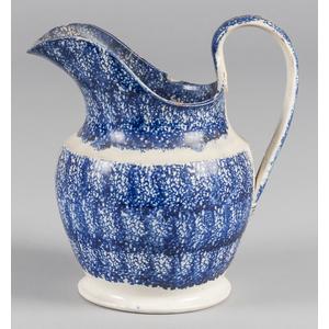 Blue spatter pitcher, 9 1/2