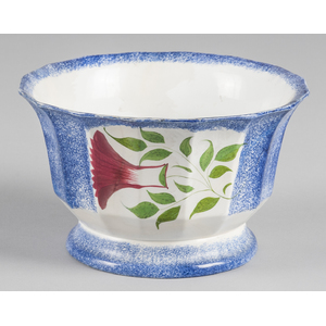 Blue spatter bowl with thistle decoration, 5 1/2