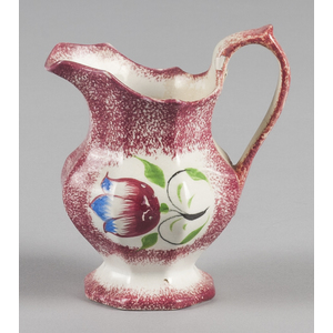 Red spatter creamer with tulip decoration, 5 5/8