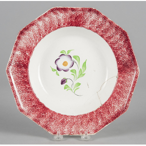 Red spatter soup bowl with primrose decoration, 10