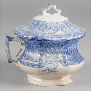 Blue spatter chamber pot with transfer eagle decor