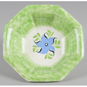 Green spatter basin with morning glory decoration,