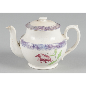 Purple spatter teapot with mourning tulip decorati