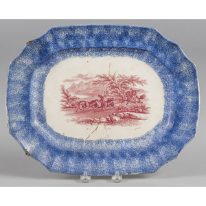 Blue spatter platter with red transfer decorationf