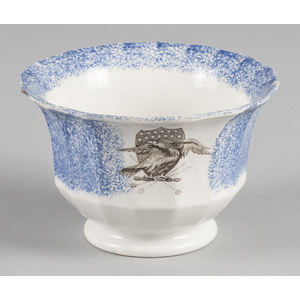 Blue spatter waste bowl with transfer eagle decora