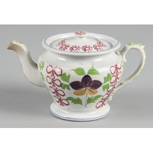 Stick spatter teapot, 5 3/4