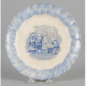 Blue spatter plate with transfer decoration of Chi