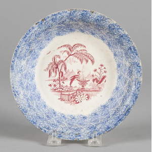 Blue spatter shallow bowl with red transfer decora