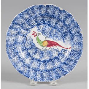 Blue spatter plate with peafowl decoration, 8 3/8