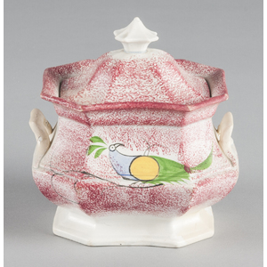 Red spatter covered sugar with peafowl decoration,