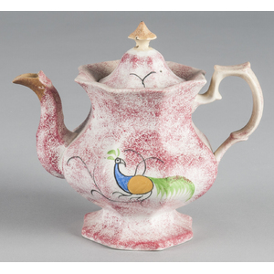 Red spatter teapot with peafowl decoration, 8 3/4