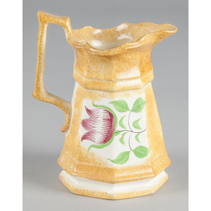 Yellow spatter pitcher with tulip decoration, 8 1/