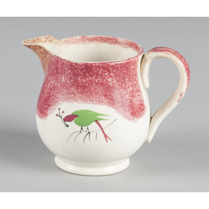 Red spatter creamer with parrot decoration, 4