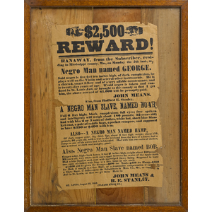 Printed broadside reward for runaway slaves