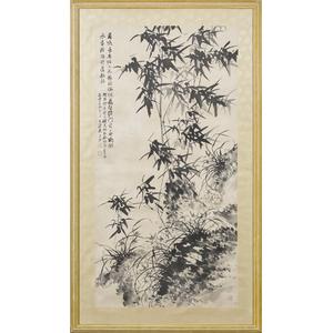 Oriental watercolor scroll, 53