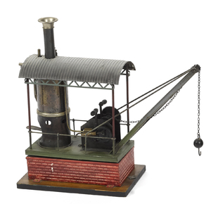 Bing live steam crane, with a faux brick and wooda