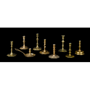 Nine English and Continental candlesticks