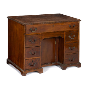 George III mahogany kneehole desk, ca. 1765, 28 1/