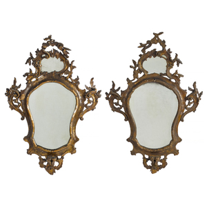 Pair of George II giltwood mirrors, mid 18th c.