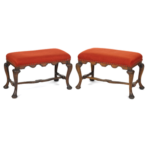 Pair of Continental Queen Anne stools