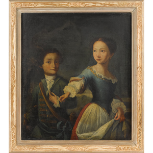 English oil on canvas portrait of two children