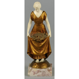 Joe Descomps (French 1869-1950), gilt bronze and i