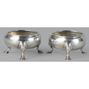 Pair of New York silver salts, ca. 1745, bearing t
