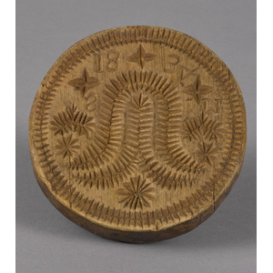 Carved and turned tulip butter print, dated 1834,