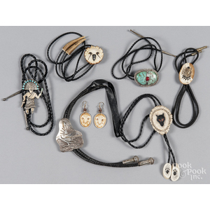 Group of Native American bolo ties