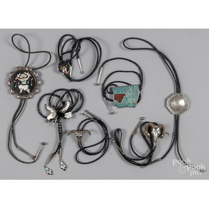 Group of Native American silver bolo ties