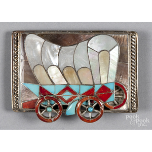 Native American covered wagon silver belt buckle