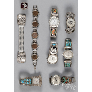 Seven Native American decorated watches and accessories