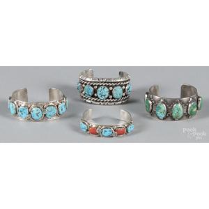 Two Zuni sterling silver cuff bracelets set