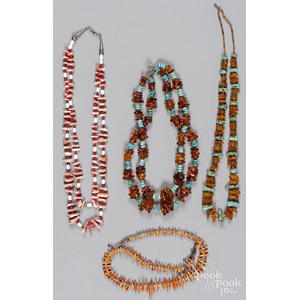 Two Southwestern Native American amber and turquoise necklace