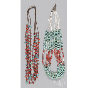 Two Southwestern Native American heishi beaded necklaces