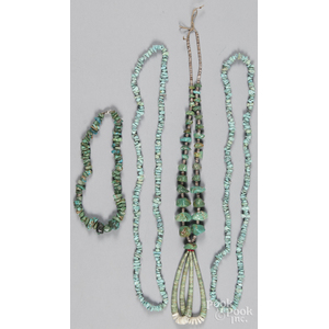 Pueblo turquoise nugget and shell heishi beaded necklace