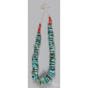 Southwestern Native American large turquoise necklace